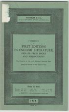 Catalogue of First Editions in English Literature, Private Press Books and Bibliography.
